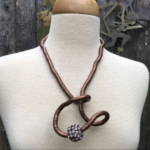 Jewelry - Bendy Snake Chain Necklace with Rhinestone Ball
